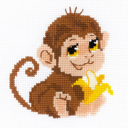 """RIOLIS Counted Cross Stitch Kit 6""""X6""""-Monkey (10 Count)-RHB161 - image 1 of 1"""
