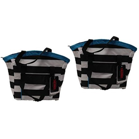 - Set of 2 Thermos Brand Insulated 9 Can Tote in Black and White Stripe with Blue