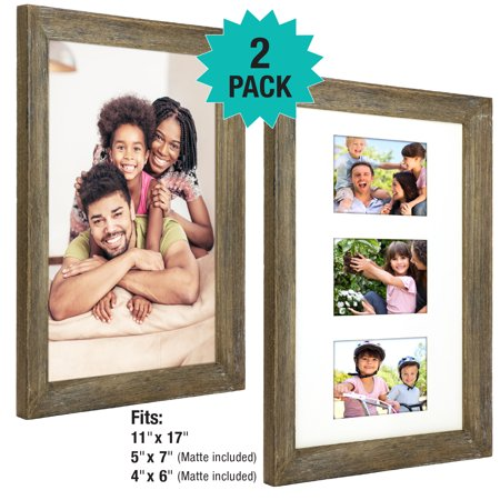 Thick Wood Top (Rustic Barnwood 11x17 Picture Frame Set. Photo Frames Holder for Wall Desktop or Tabletop Display. Thick Weathered Gray Wood Home Decor. Fits 11x17 or three  5x7 or 4x6 with included Matte (Pack of 2))