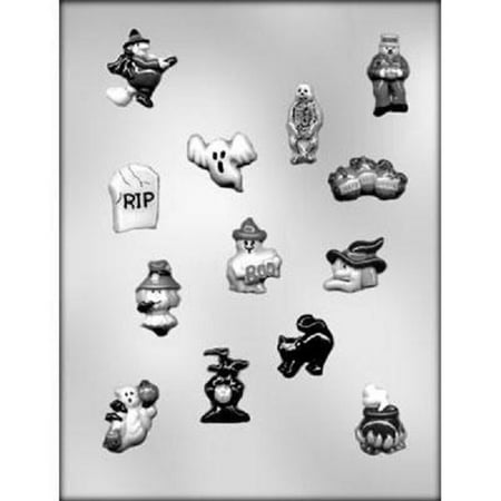 Ghost, Witch, Cats, Cauldron, Skeleton Chocolate Mold - CK Products - 90-3117 - IncludesNational Cake Supply Melting & Chocolate Molding Instructions](Witch Melting)