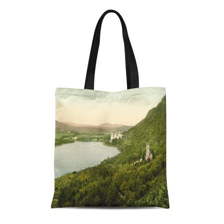 Downton Abbey Shopping Bag (ASHLEIGH Canvas Tote Bag Abbey Kylemore Castle Galway Lake Mountain County Building Ireland Reusable Handbag Shoulder Grocery Shopping)