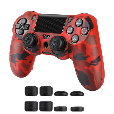 EEEkit Silicone Rubber Cover Skin Case Anti-slip Water Transfer Customize Camouflage for PS4/PS4 Slim/PS4 controller x 2 + FPS PRO extra Thumb Grip Caps x