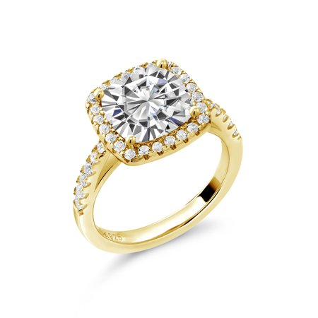 18K Yellow Gold Plated Silver Ring Forever Brilliant GHI Created Moissanite 2.40ct DEW