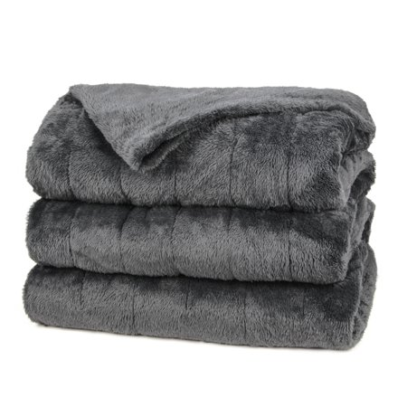 Sunbeam Heated Electric Microplush Blanket with 10 heat settings, Twin, Slate