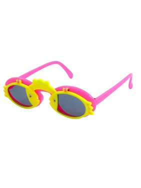Cute Fishes Frog Decor Hot Pink Yellow Flip up Sunglasses Eyewear for