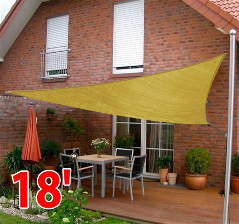 Outsunny Triangle Outdoor Patio Sun Shade Sail Canopy, 18 Feet, Sand