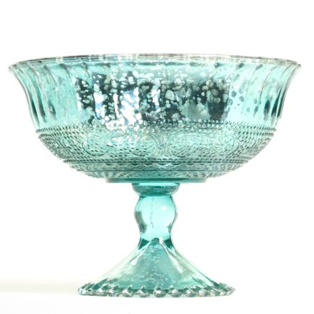 Koyal Wholesale 7-Inch Aqua Blue Glass Compote Bowl Pedestal Flower Bowl Centerpiece