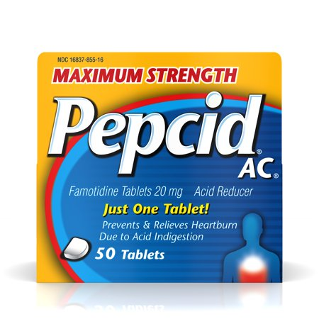 Maximum Strength Pepcid AC All-Day Heartburn Relief Treatment, 50 count, famotidine 20