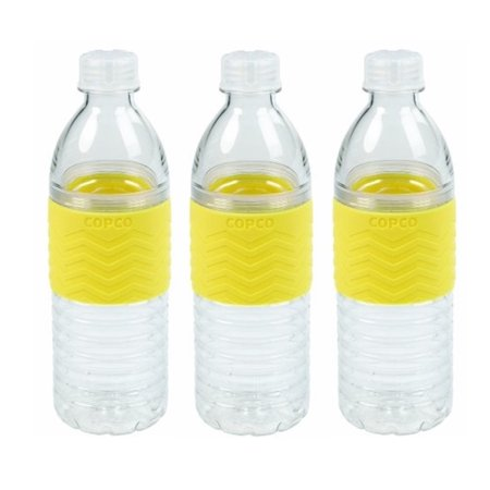 3 Pack Copco Hydra Sports Water Bottle With Non Slip Sleeve - Spill Resistant, BPA Free Plastic, Reusable 16.9 Oz - Yellow