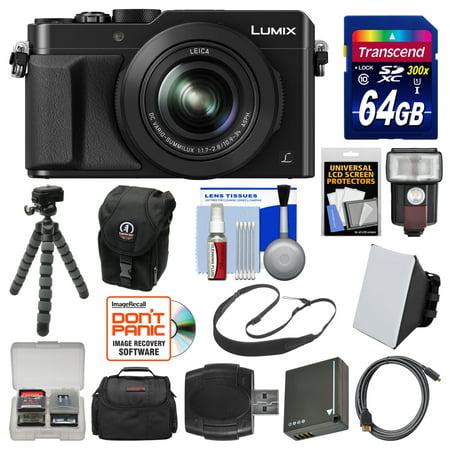 Panasonic Lumix DMC-LX100 4K Wi-Fi Digital Camera (Black) with 64GB Card +  Case + Flash + Soft Box + Battery + Tripod + Strap + Kit