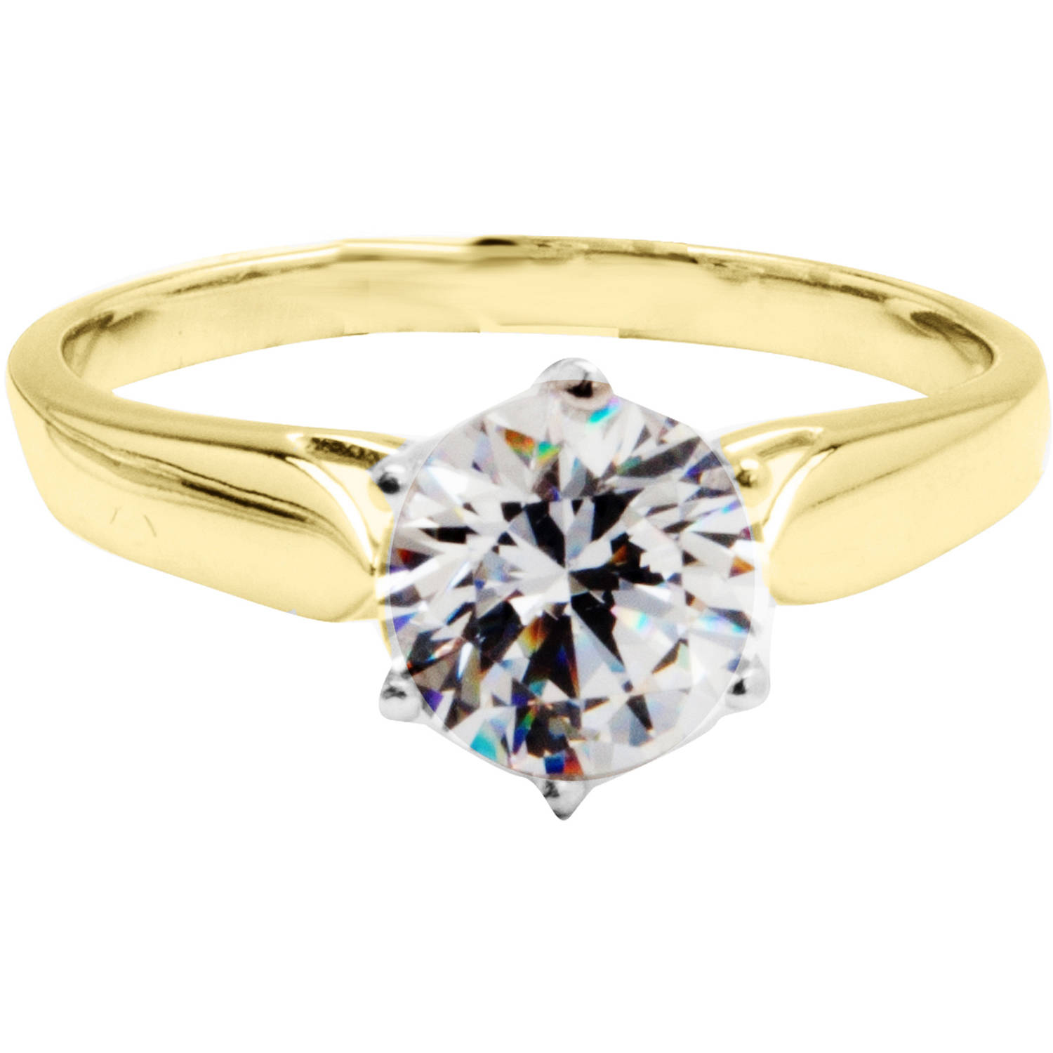 Believe by Brilliance 1.80 Carat T.G.W. CZ Round Solitaire 10kt Yellow Gold Engagement Ring