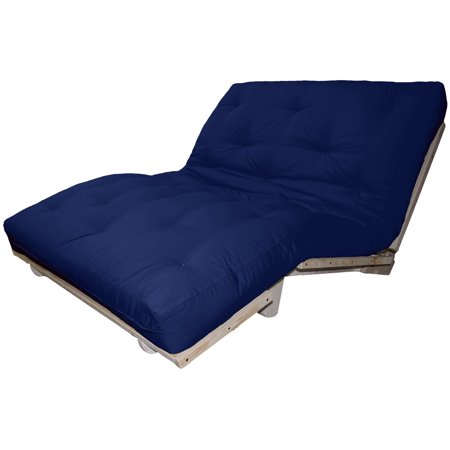 - Lounger True 6-Inch Cotton/Foam Sit, Lounge, or Sleep Futon Sofa Sleeper Bed, Queen-size, Unfinished Frame, Suede Dark Blue