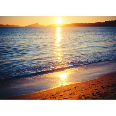 Sun Reflected Over Beach Home Office Wall Artwork Decoration Posters, Small Signs - - Sun Decorations