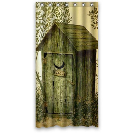 DEYOU Outhouse Shower Curtain Polyester Fabric Bathroom Size 36x72 Inches