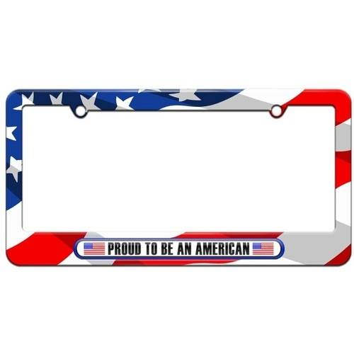 Proud to Be An America, USA Flags License Plate Tag Frame, American Flag Design - Flag Frames