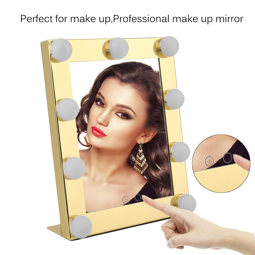 LED 9 Bulbs Vanity Lighted Hollywood Makeup Mirror with Dimmer Stage Smart Touch Screen desktop cosmetic Mirror &Two Power Supply Mode,Batteries not Included--Adjustable Brightness (Gold)