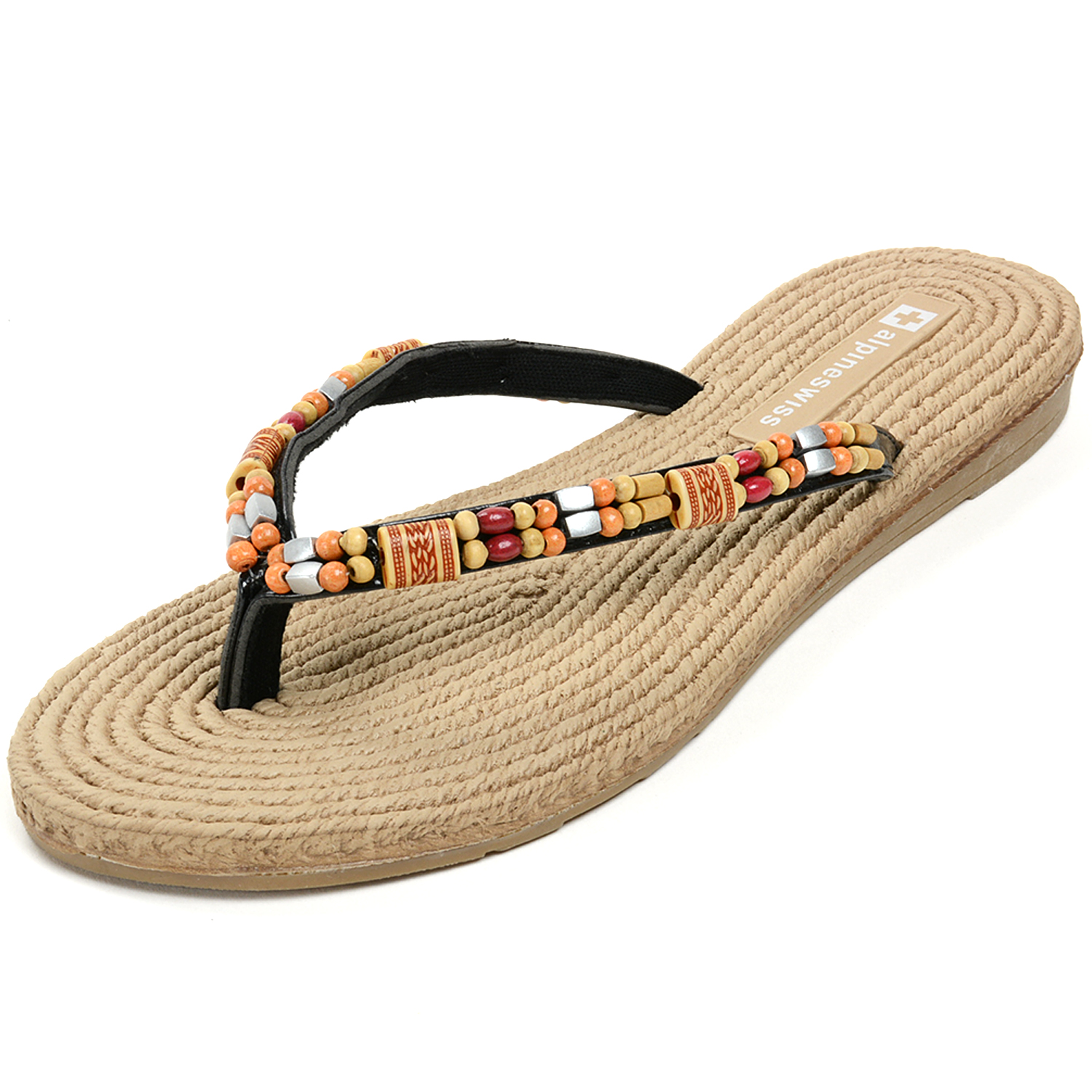 Alpine Swiss Women's Bohemian Sandals Wood Bead Thongs Comfort Flats Flip Flops