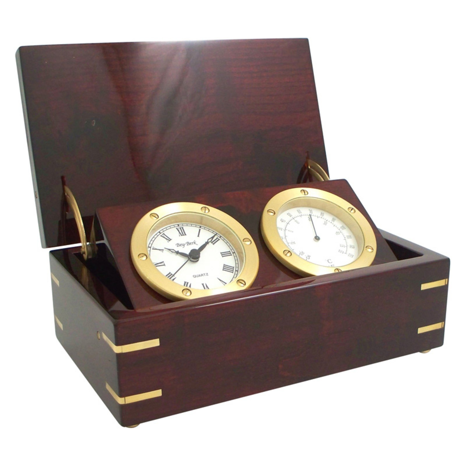 Bey Berk Rosewood Desk Clock with Thermometer