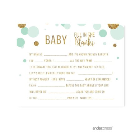 Baby Fill in the Blanks  Mint Green Gold Glitter Baby Shower Games,