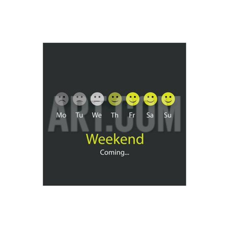Weekend Coming - Design Concept with Smile Faces Print Wall Art By bagotaj