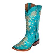 Ferrini Western Boots Womens Country Lace Square Turquoise 82893-50