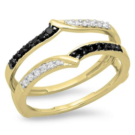 18k Yellow Gold Enhancer (0.33 Carat (ctw) 18K Yellow Gold Round Black & White Diamond Ladies Anniversary Wedding Enhancer Guard Double Ring 1/3)