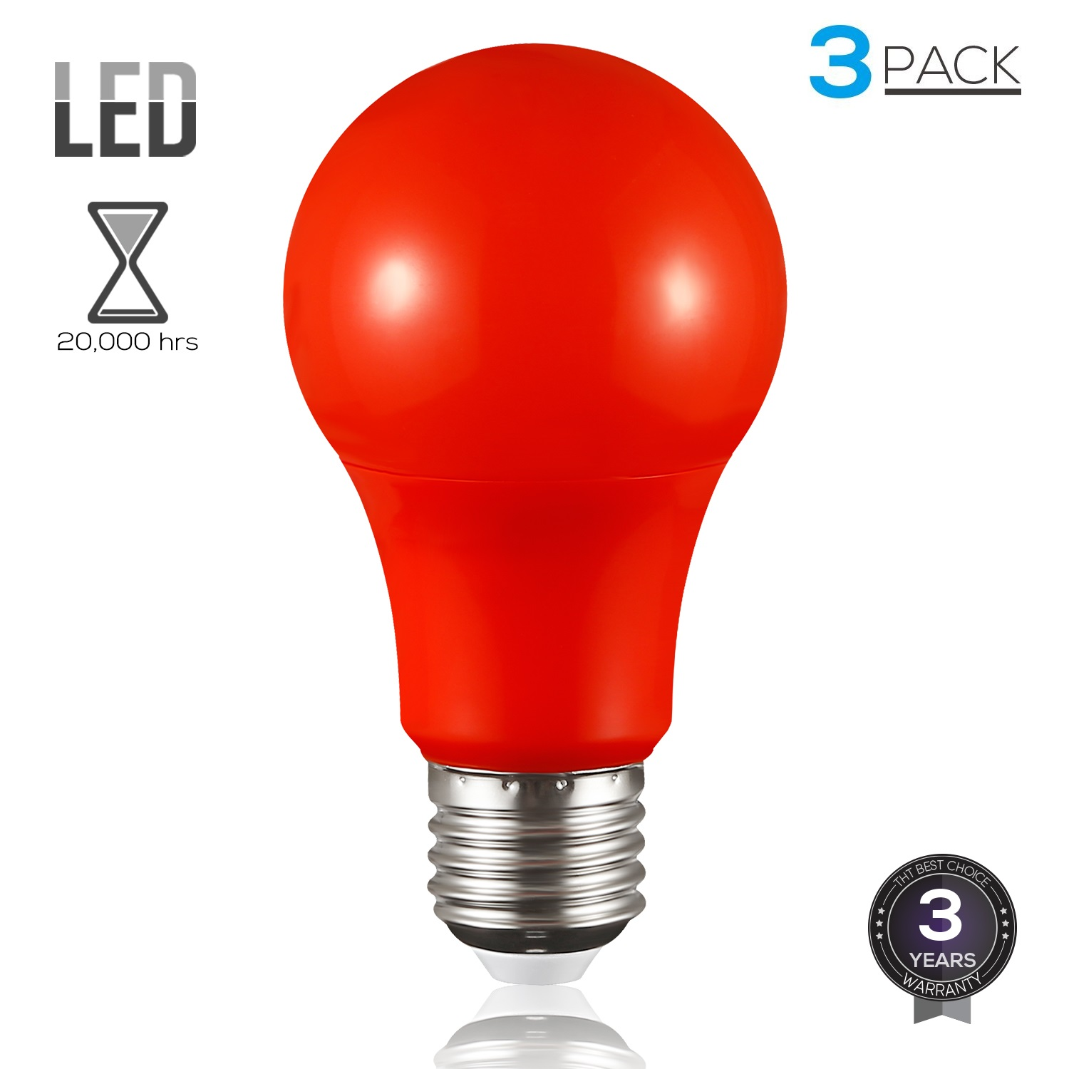 TORCHSTAR 3 Pack Red LED A19 Colored Light Bulbs, E26 Medium Base, Decorations for Holiday, Non-Dimmable