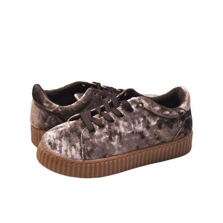Qupid Rematch 03A Women's Shoes Crush Velvet Lace Up Creeper Sneaker Mauve