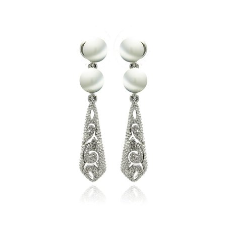 Rhodium Br Pearl Stud Dangle Earrings