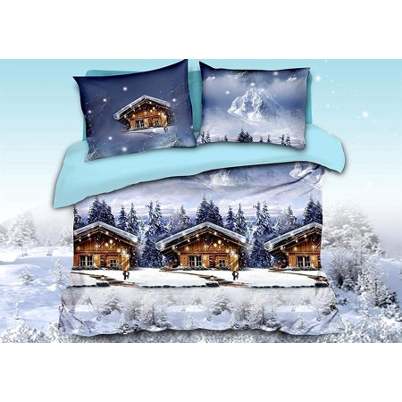 3D Bed Sheet Set Queen -4 Piece 3D Log Cabins in Forest and Snow Mountains Printed Sheet Set Queen Size (Y32) - Soft, Breathable, Fade Resistant -Includes 1 Flat Sheet,1 Fitted Sheet,2 Shams