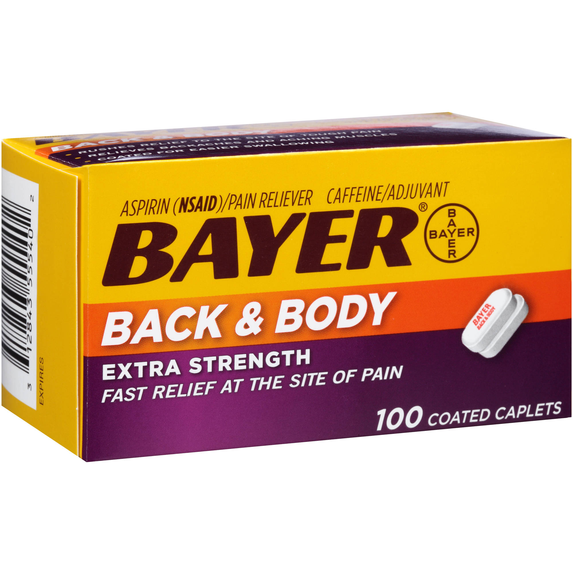 Bayer Extra Strength Back & Body Aspirin Pain Reliever Coated Caplets, 100 count