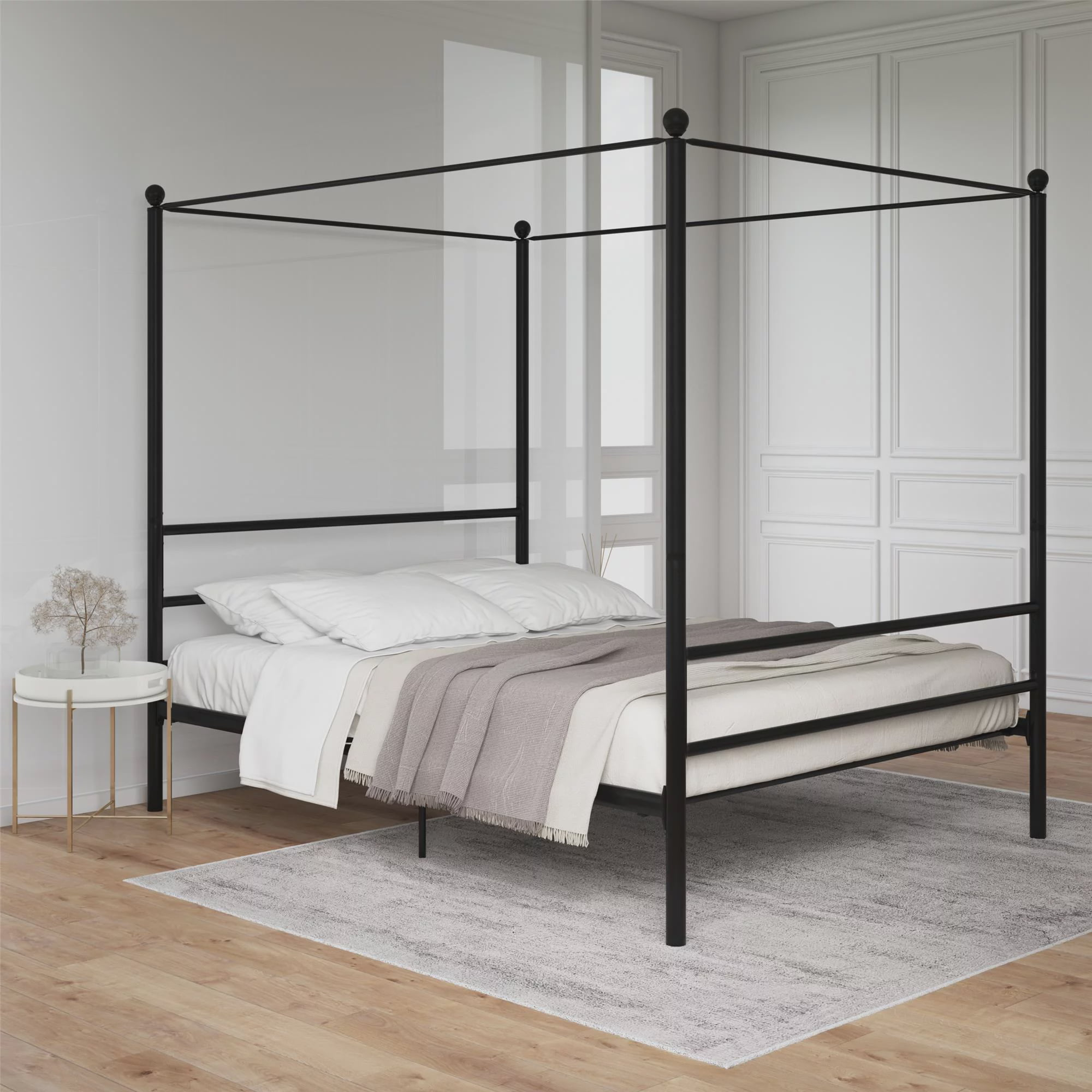 Picture of: Mainstays Queen Black Metal Canopy Bed Multiple Options Available Walmart Com Walmart Com