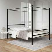 Mainstays Queen Black Metal Canopy Bed, Multiple Options Available