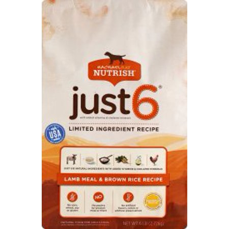 - Rachael Ray Nutrish Just 6 Natural Dry Dog Food, Lamb Meal & Brown Rice Limited Ingredient Diet, 6 lbs