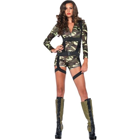 Morris Costumes Womens Zipper-Front Spandex Romper Camo Coloring Goin Commando Adult Small Halloween Costume - Zipper Costume Halloween