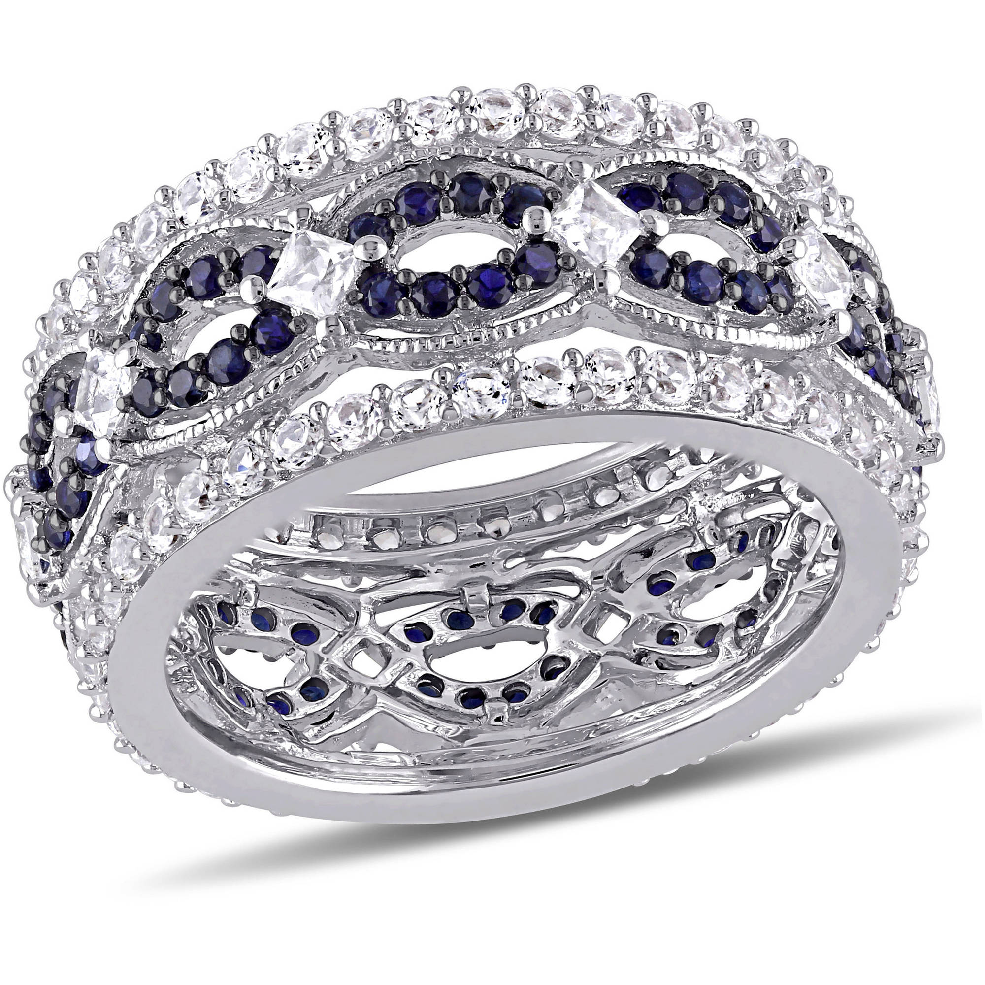 2-7/8 Carat T.G.W. Created White and Blue Sapphire Sterling Silver Fashion Ring