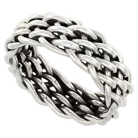 Sterling Silver Wire Braided Ring Handmade 3/8 inch wide (Handmade Wire Rings)