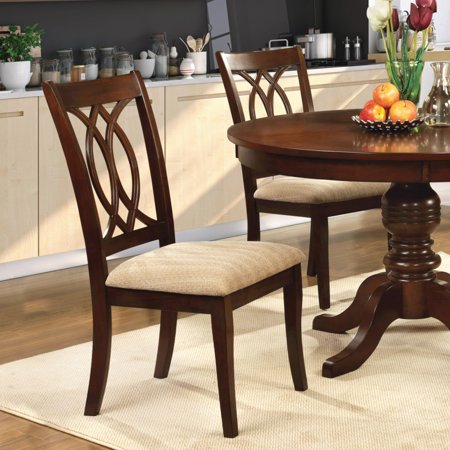 Furniture of America Goddard Transitional Fabric Dining Chair, Brown Cherry, 2pk Cherry Heirloom Dining Chair