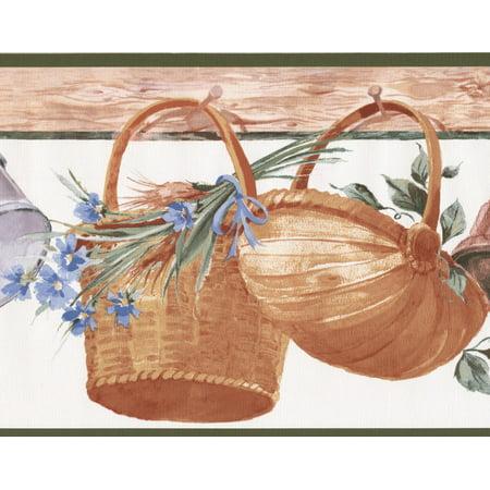 Hanging Baskets Corn Flowers Kitchen Wide Wallpaper Border Retro Design, Roll 15' x 9'' - image 3 of 3