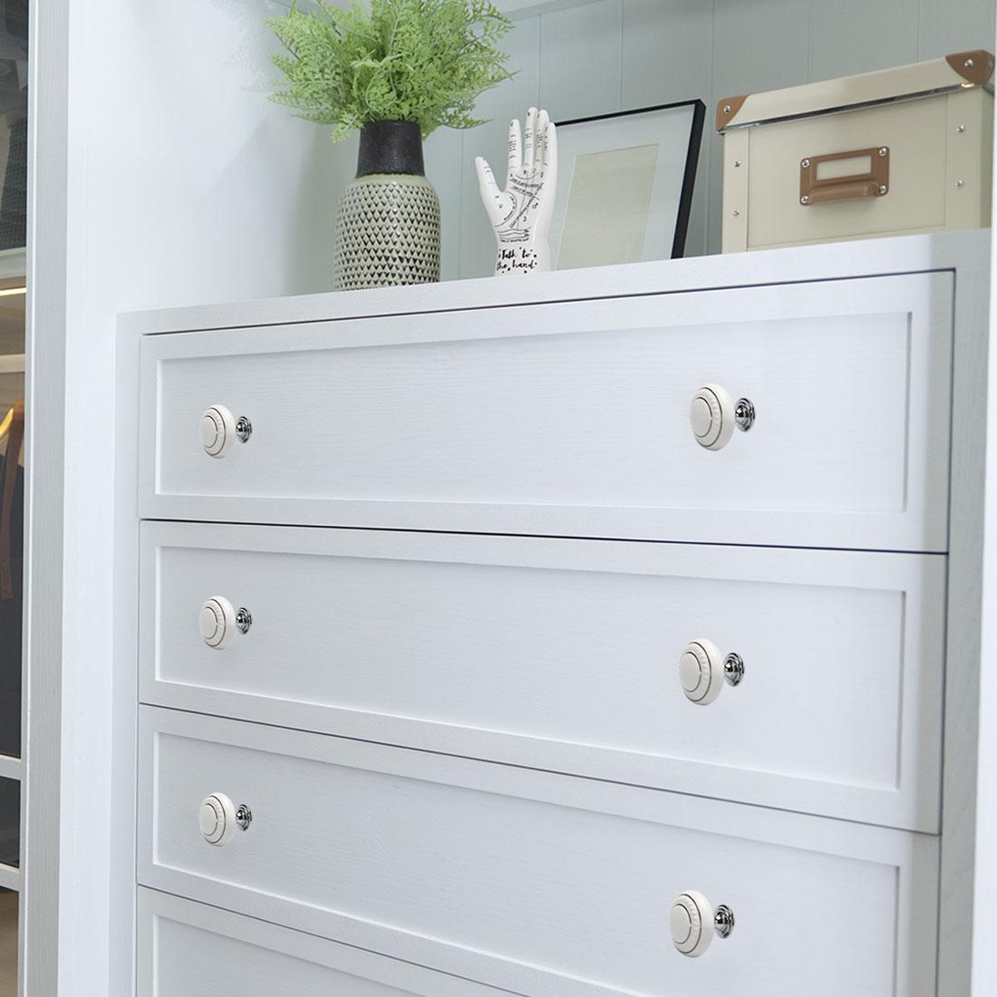 Ceramic Vintage Knobs Drawer Pull Handle Cupboard Dresser 6pcs Gold Circle White - image 1 of 8