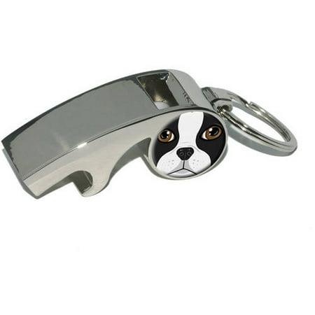Boston Terrier Face, Dog Pet, Plated Metal Whistle Bottle Opener Keychain Key Ring