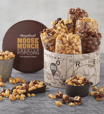 Moose Munch Deluxe Premium Popcorn Tin by Harry & David (6 Bags)