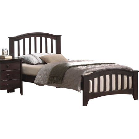 ACME San Marino Twin Panel Bed with Slat System in Dark Walnut, Multiple Sizes