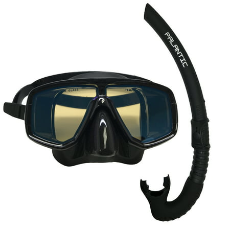 - Scuba Choice Dive Mask With Blue Mirror Coated Lense + Black Snorkel Combo