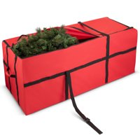 ShopoKus High Quality Christmas Tree Bag With Wide Opening - Fits Tree Up To 9 Ft Tall For Dissassembled Trees Holiday Xmas Duffle Bag - 59 x 24 x 24 In. - Red