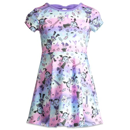 Disney Vampirina Toddler Girls' All-Over Guitar Print Ruffle - Disney Dresses For Adults