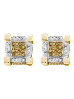 10kt Yellow Gold Mens Round Yellow Color Enhanced Diamond 3D Cube Stud Earrings 1/2 Cttw Fine Jewelry Ideal Gifts For Women Gift Set From Heart