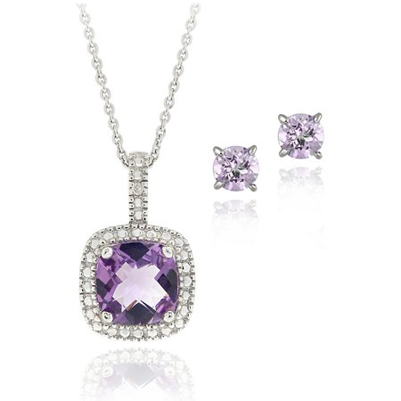 2.85 Carat T.G.W. Amethyst and Diamond Accent Sterling Silver Square Necklace and Earrings -