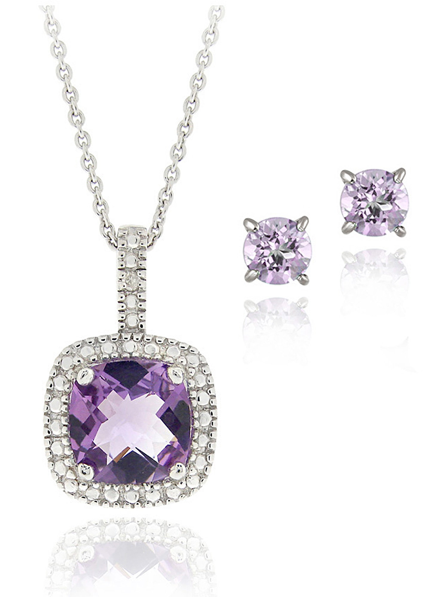 2.85 Carat T.G.W. Amethyst and Diamond Accent Sterling Silver Square Necklace and Earrings Set