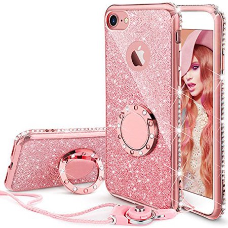 more photos 20839 3d4e9 iPhone 7 Case, iPhone 8 Case, Glitter Cute Phone Case Girls with Kickstand,  Bling Diamond Rhinestone Bumper with Ring Stand Thin Soft Protective Pink  ...